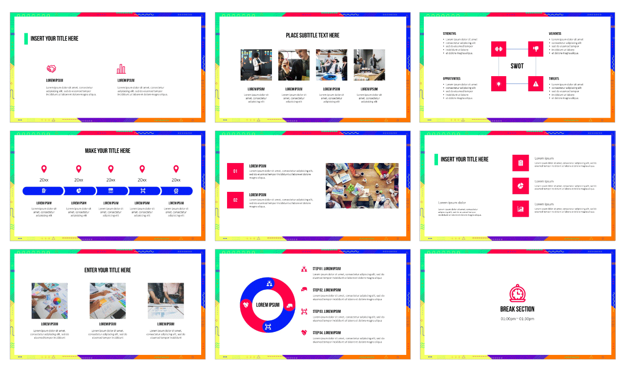 Funky Geometric Frame Google Slides PowerPoint Design templates Free download