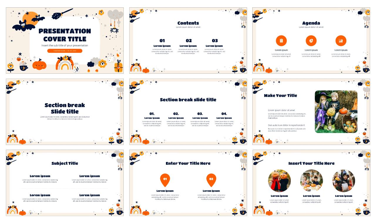 Halloween Decoration Frame Free Google Slides Theme PowerPoint Template