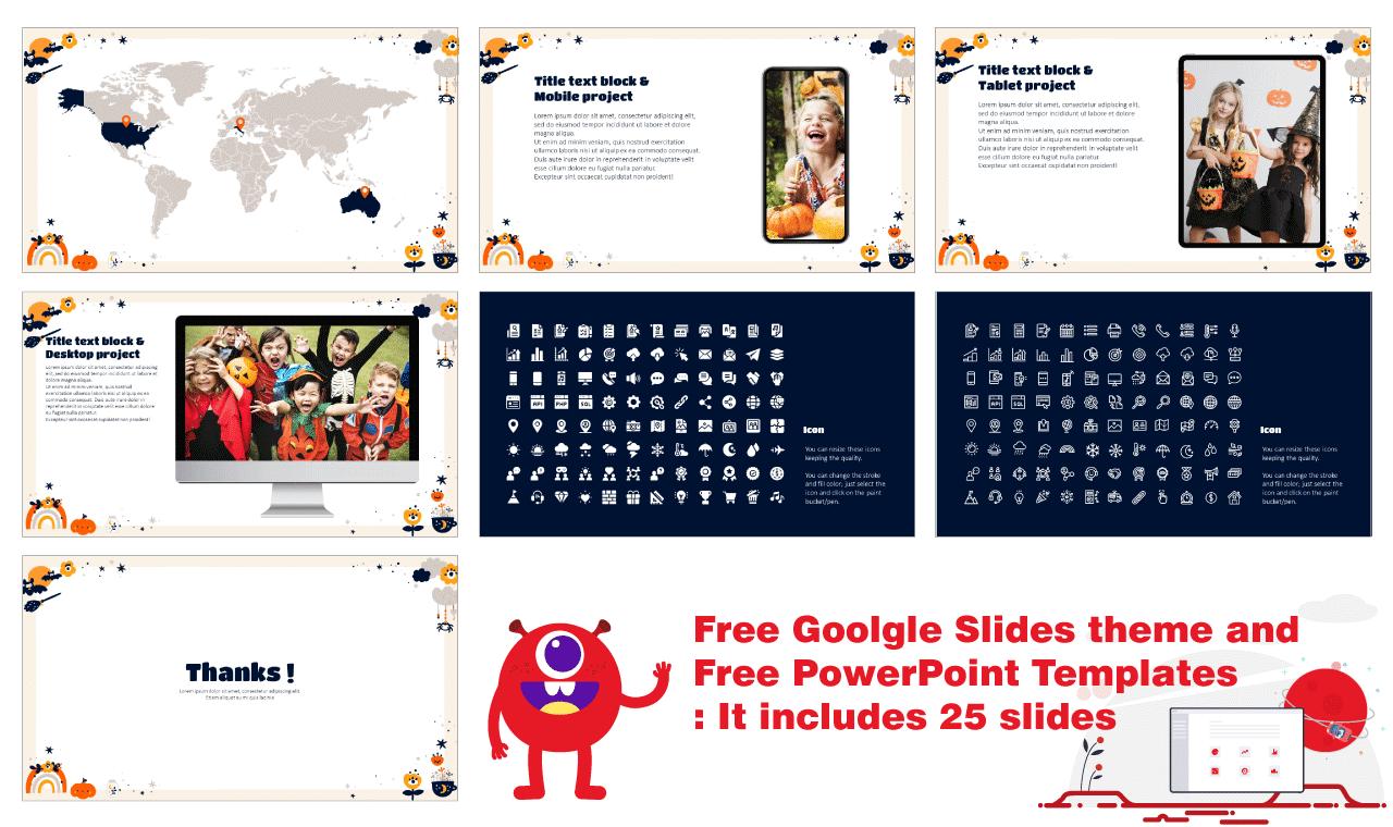 Halloween Decoration Frame Presentation Background Design Google Slides Theme PowerPoint Template Free download