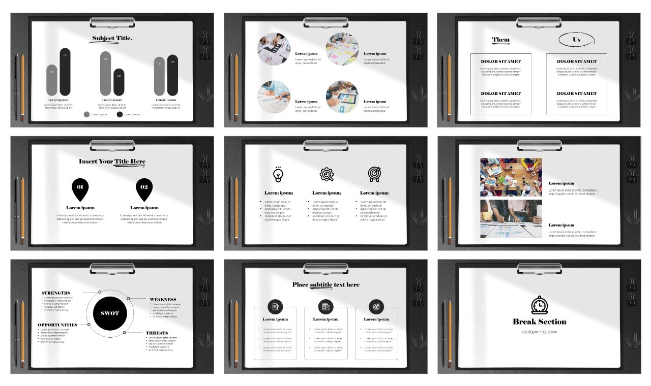 Modern Clipboard Design Google Slides theme PowerPoint template Free download