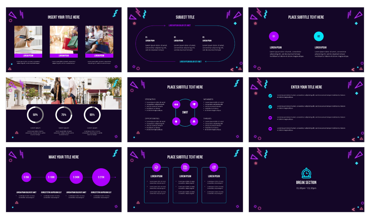 Neon Black Friday Google Slides Themes PowerPoint Templates Design Free download