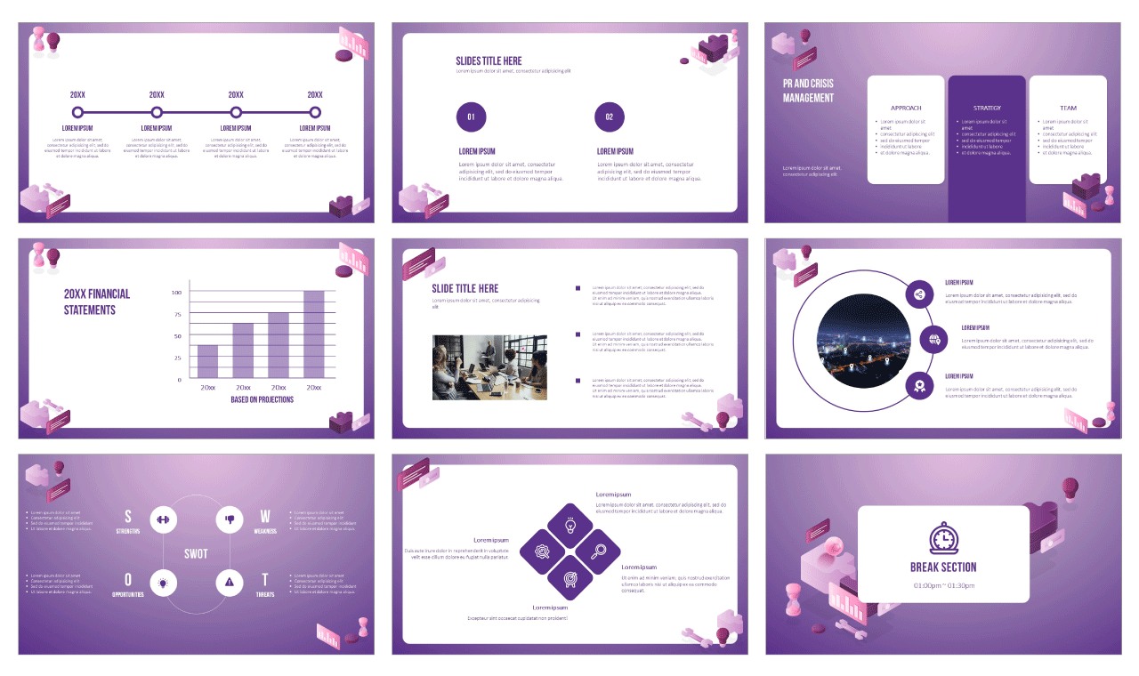 Project Management Approach Google Slides theme PowerPoint template Free download