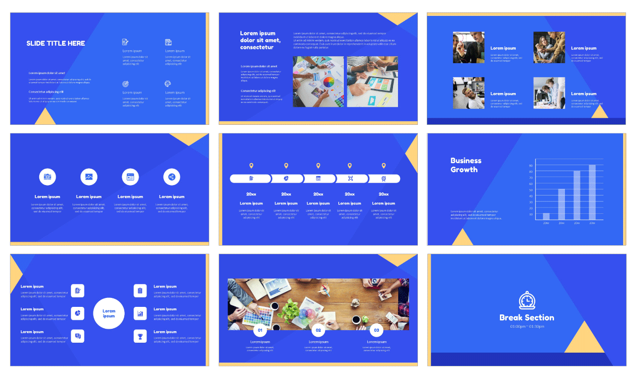 Simple Geometric Google Slides PowerPoint Design Templates Free download