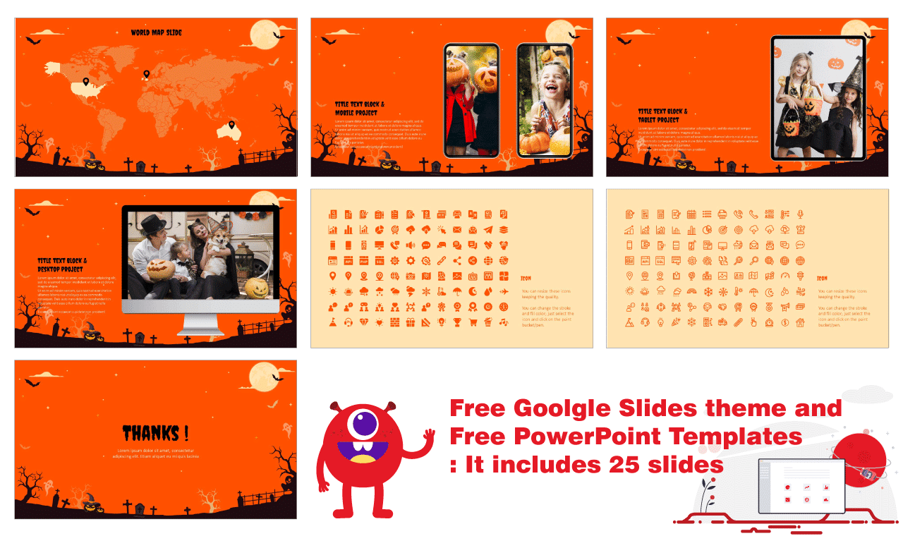 Spooky Halloween Party Presentation Background Design Google Slides Theme PowerPoint Template Free download