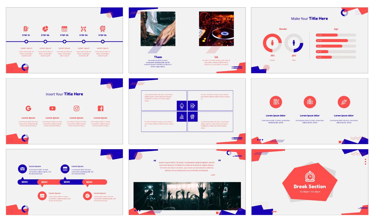 Universal Trend Geometric Google Slides theme PowerPoint template design Free download