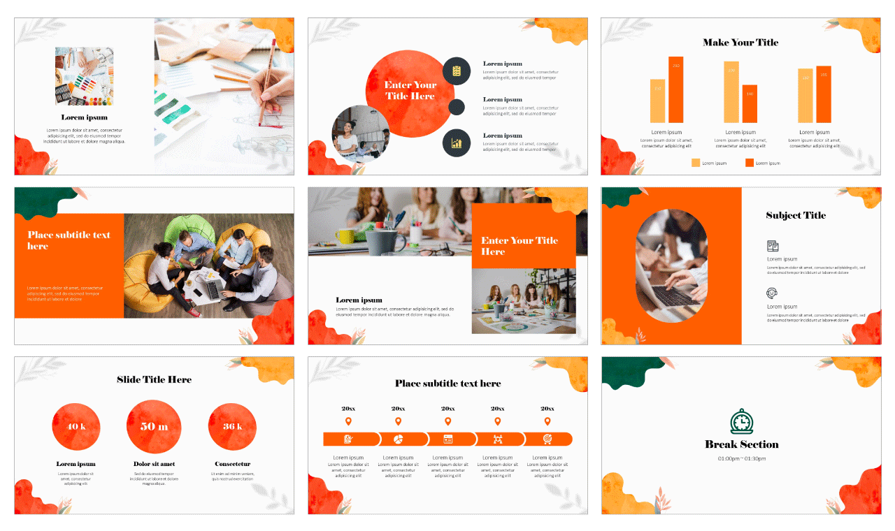 Watercolor Waves Google Slides Theme PowerPoint Template Free download