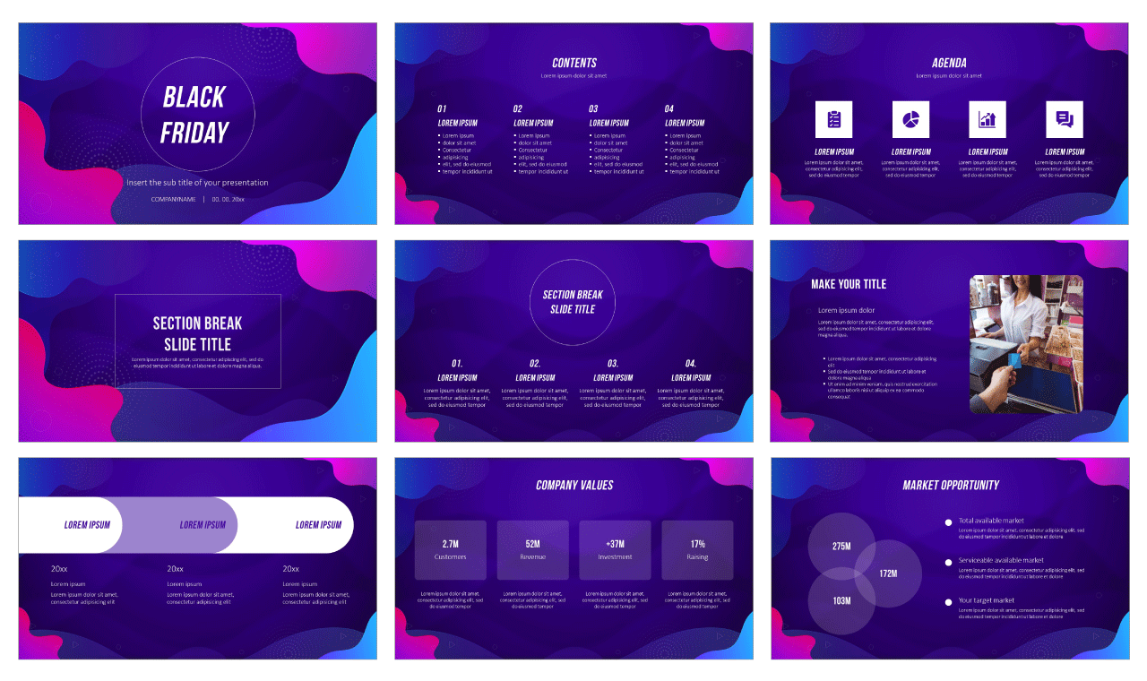 Wave Black Friday Free Google Slides Theme PowerPoint Template
