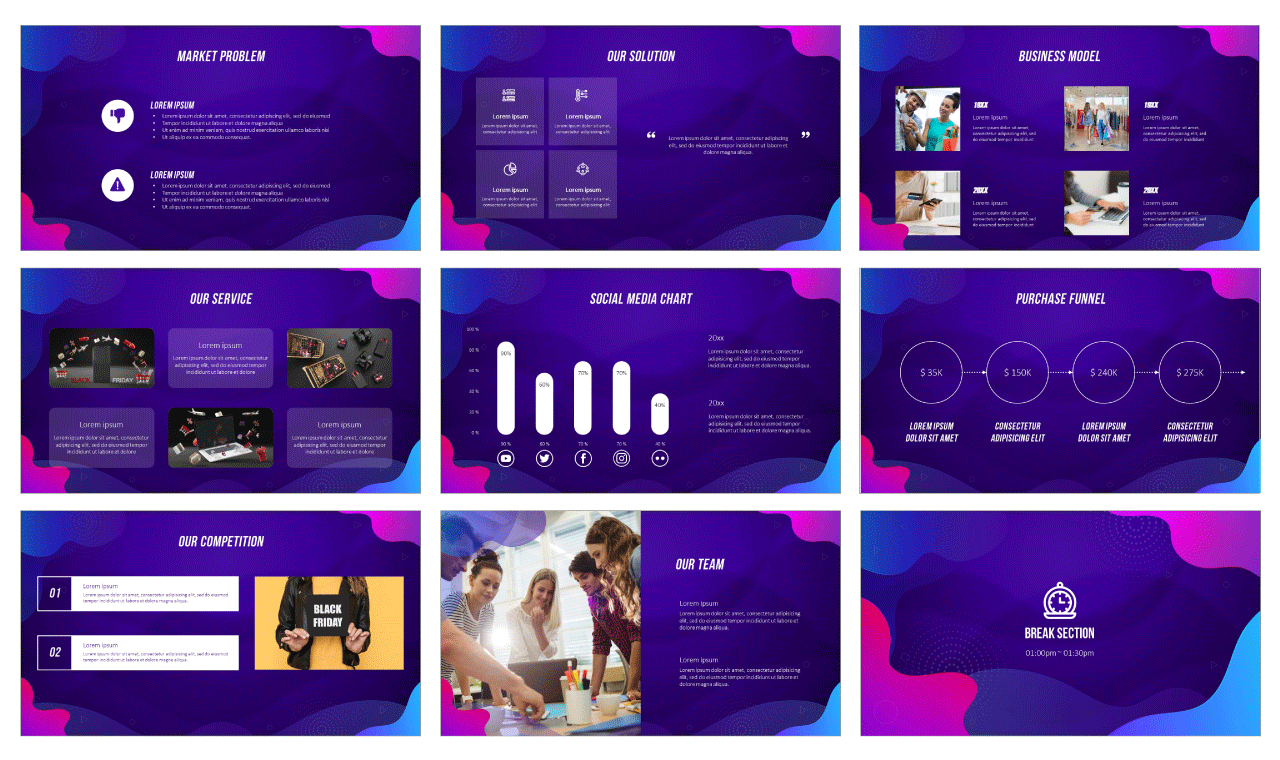 Wave Black Friday Google Slides Themes PowerPoint Templates Design Free Download
