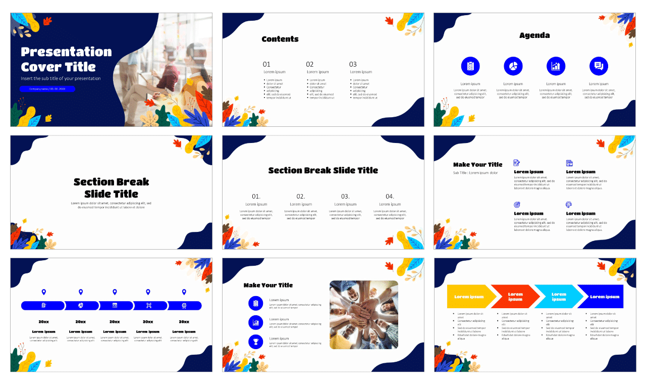 Abstract Leaves Wave Free Google Slides Theme PowerPoint Template