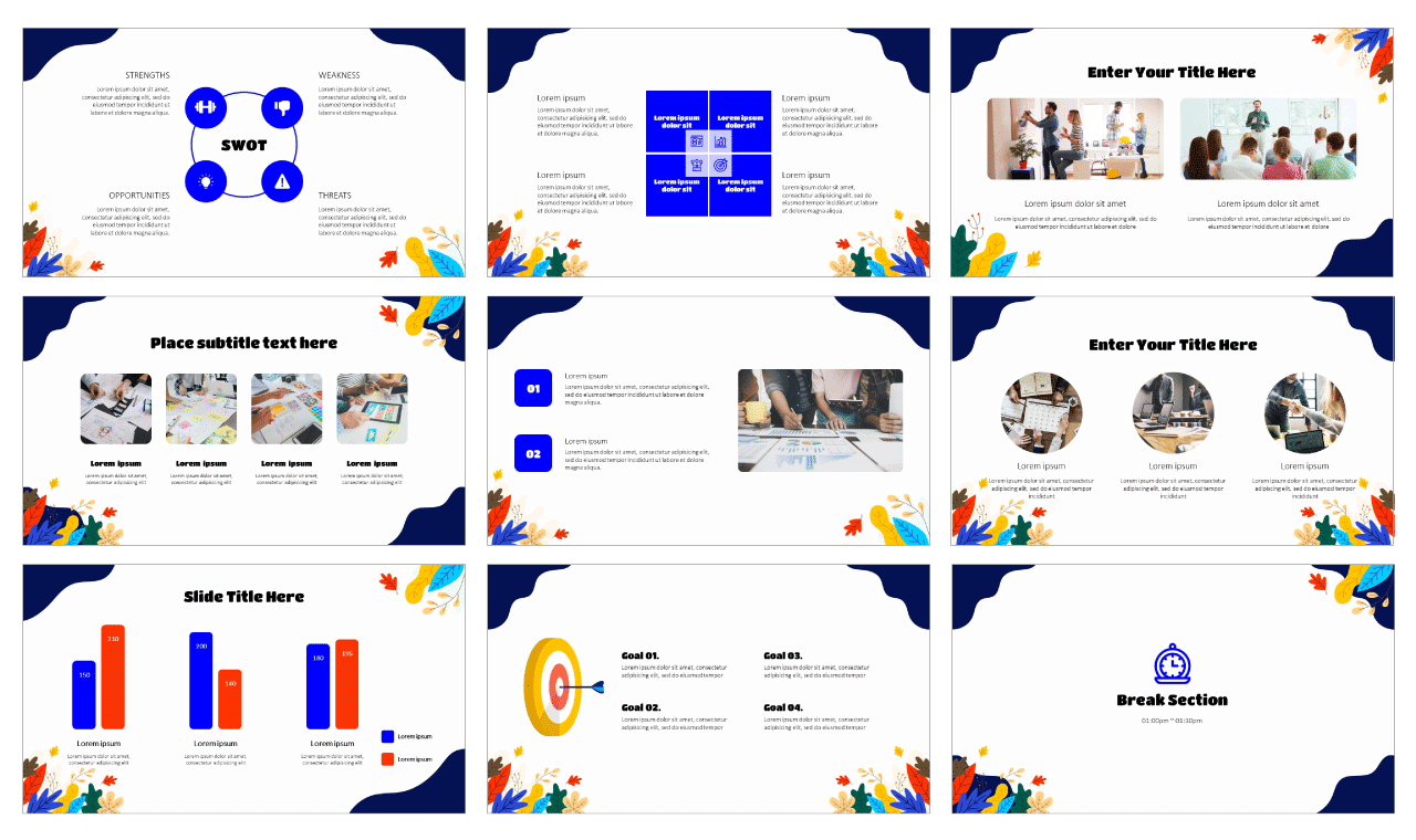 Abstract Leaves Wave Google Slides Theme PowerPoint Template Free Download