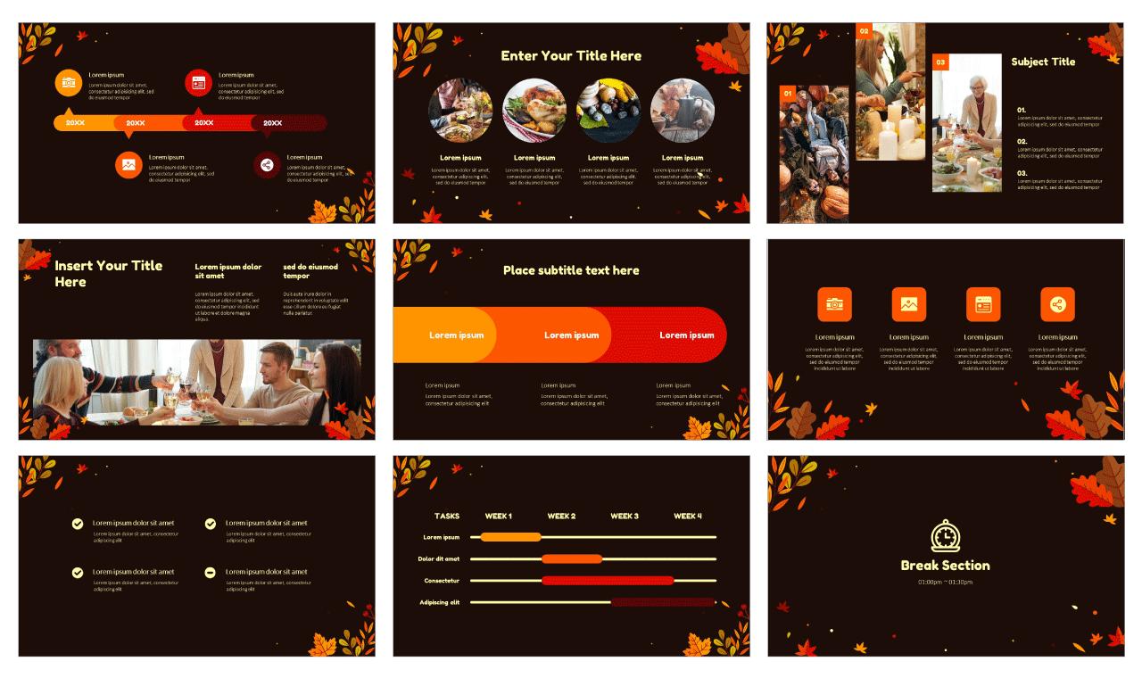 Autumn Thanksgiving Day Google slides theme PowerPoint templates Free download
