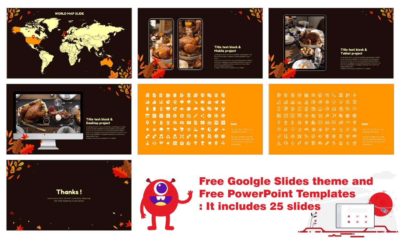 Autumn Thanksgiving Day Presentation Background Design Google Slides theme PowerPoint template Free download