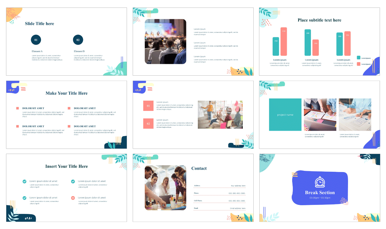 Awesome Memphis Google Slides theme PowerPoint template Free download
