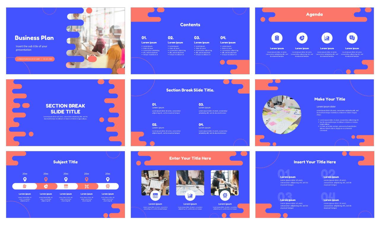 Blue Fluid Business Plan Free PowerPoint Templates Google Slides Themes
