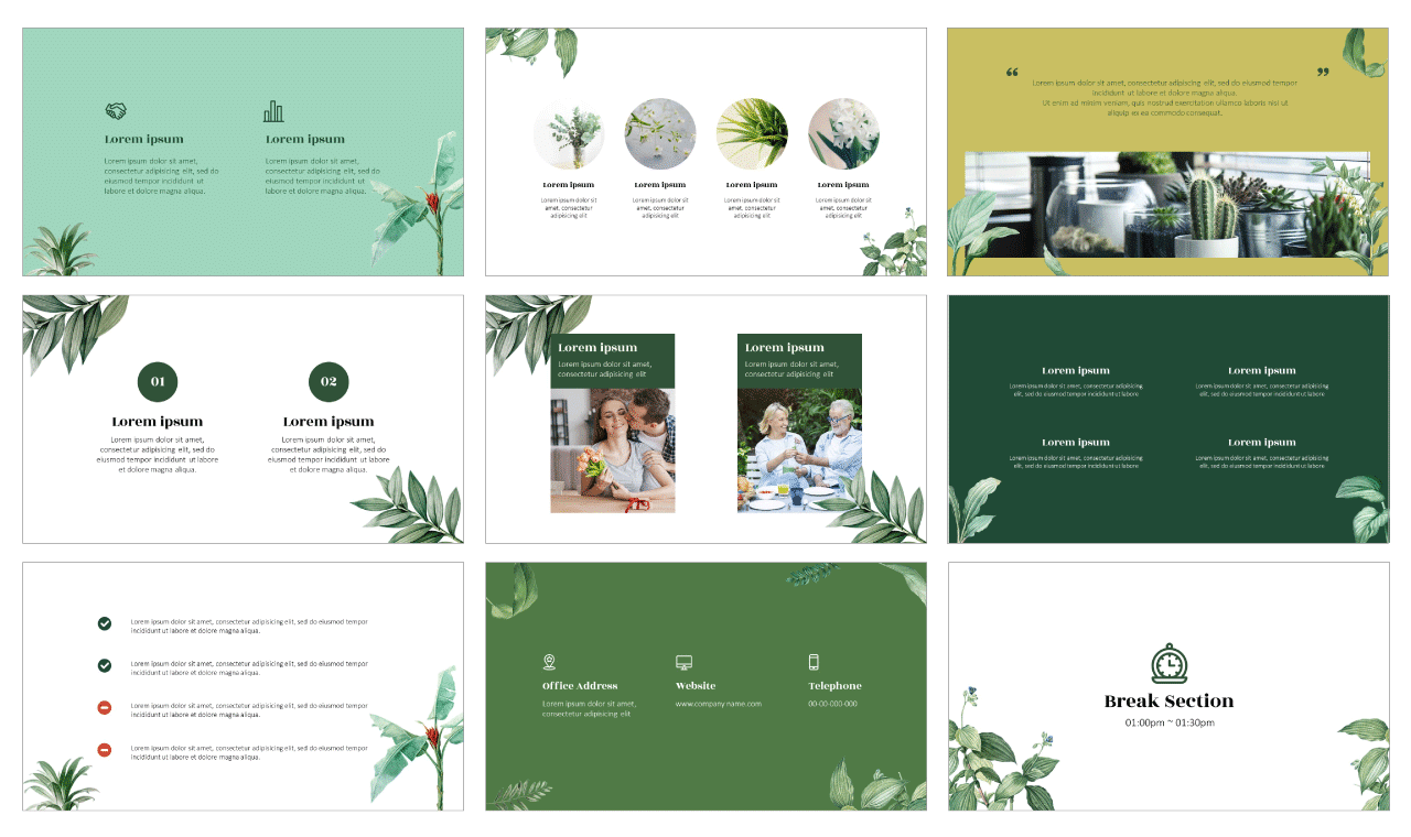 Botanical Garden Google Slides Theme PowerPoint Template Free Download