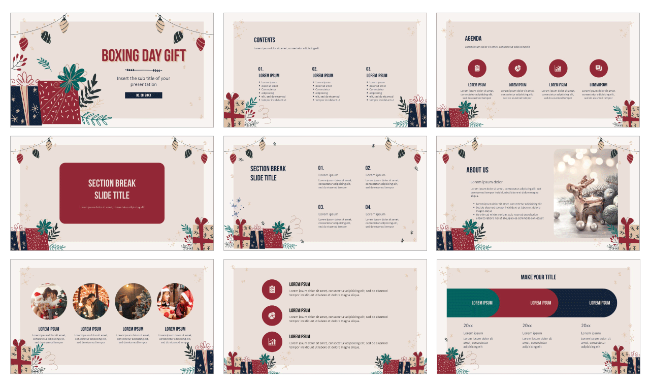 Boxing Day Gift Free PowerPoint Template Google Slides Theme