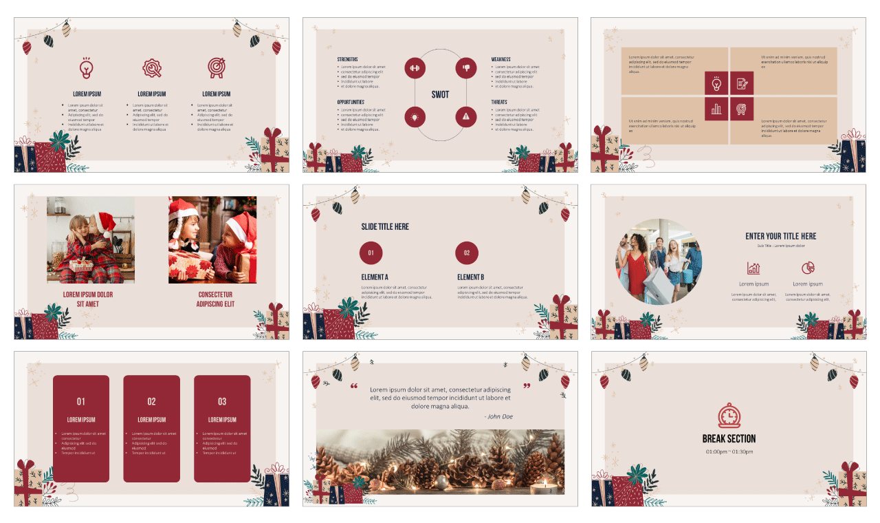 Boxing Day Gift PowerPoint Template Google Slides Theme Free Download