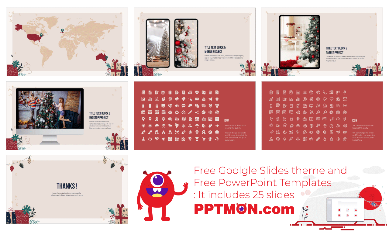 Boxing Day Gift Presentation background design Free PowerPoint Template Google Slides Theme