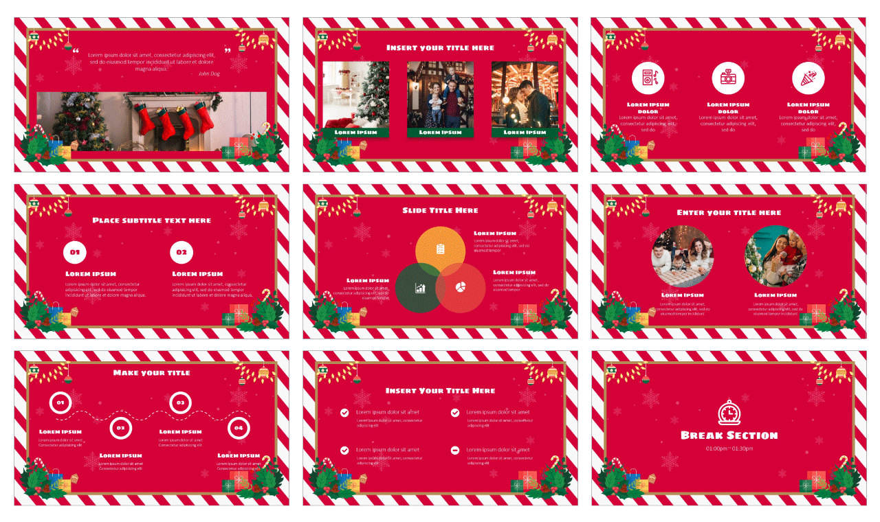 Christmas Card Google Slides Theme PowerPoint Template Free download