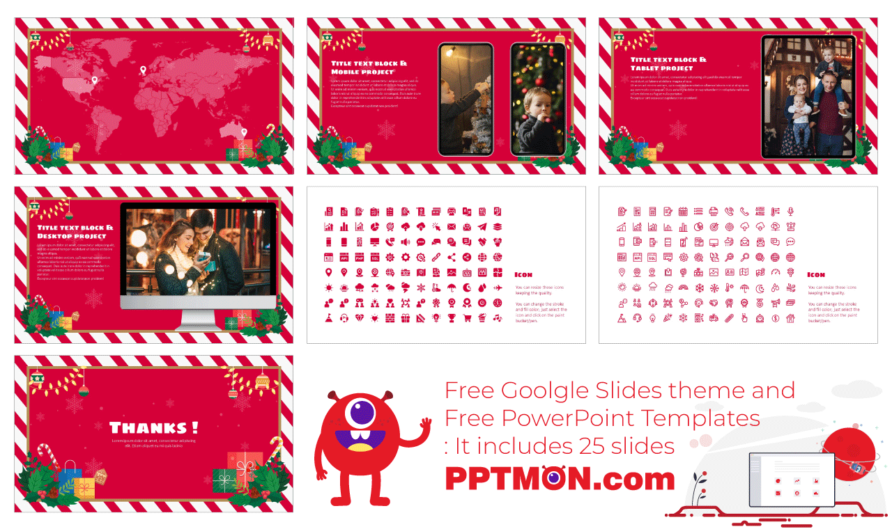 Christmas Card Presentation background design Free PowerPoint Template Google Slides Theme