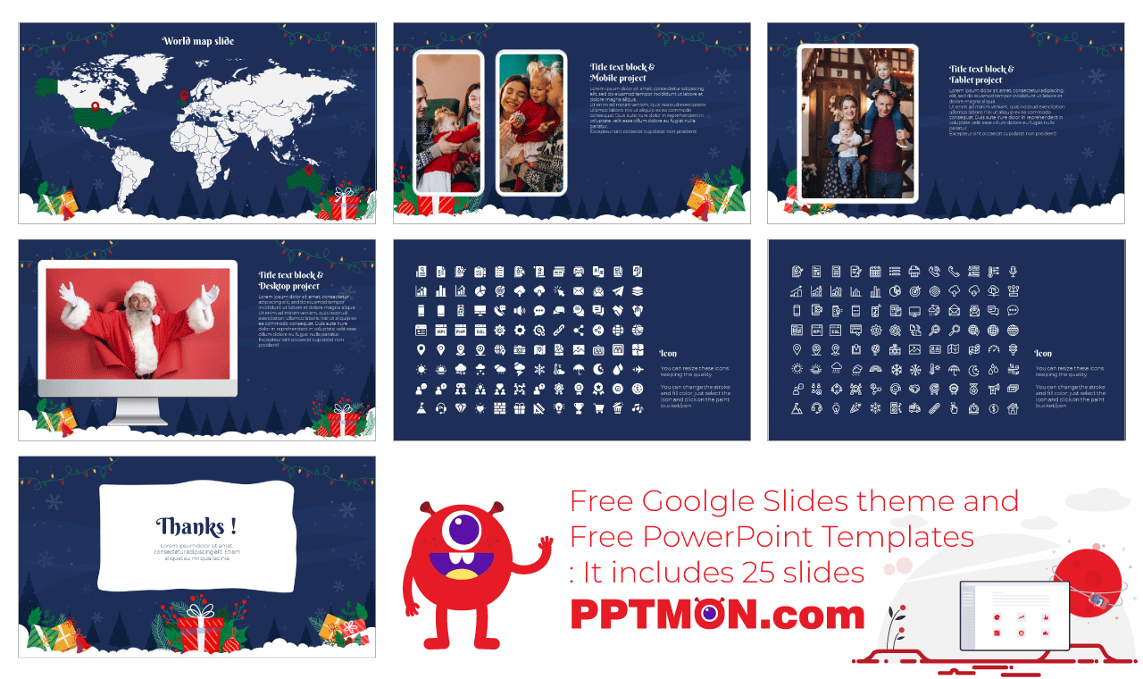 Christmas Gift Presentation Background Design Google Slides Theme and PowerPoint Template Free Download