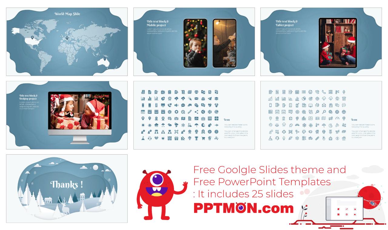 Christmas Scene Presentation background design free Google Slides Theme PowerPoint Template
