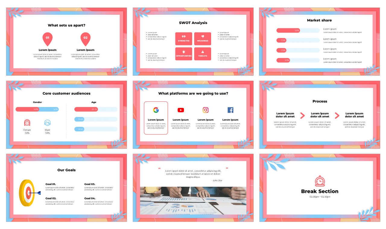 Colorful Marketing Plan Google Slides Theme PowerPoint Template Free Download