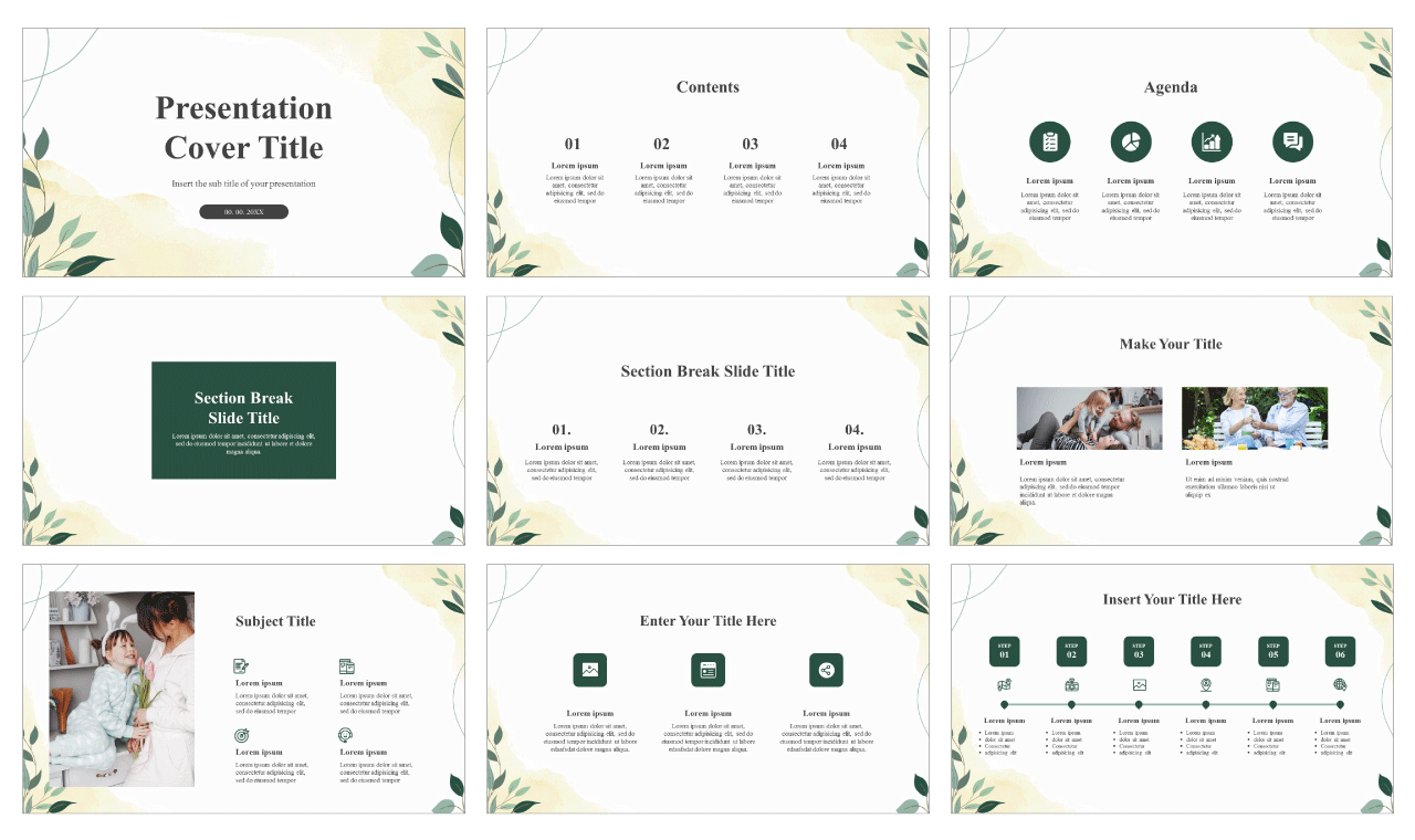 Elegant Leaf Illustration Free Google Slides theme and PowerPoint template