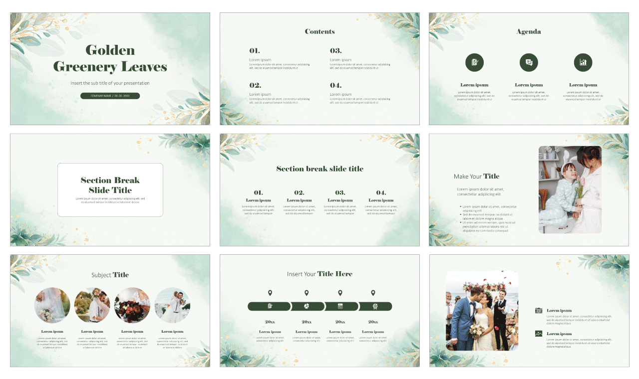 Golden Greenery Leaves Free Google Slides theme and PowerPoint template