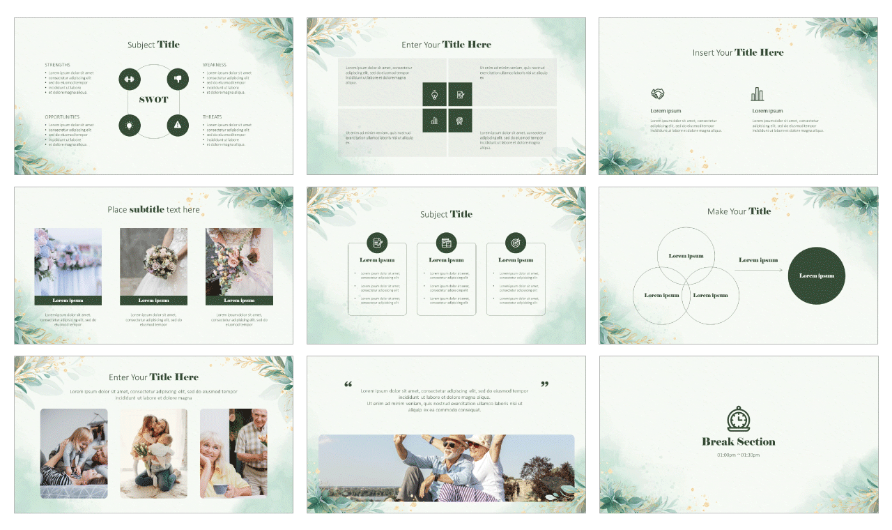Golden Greenery Leaves Google Slides theme PowerPoint template Free download
