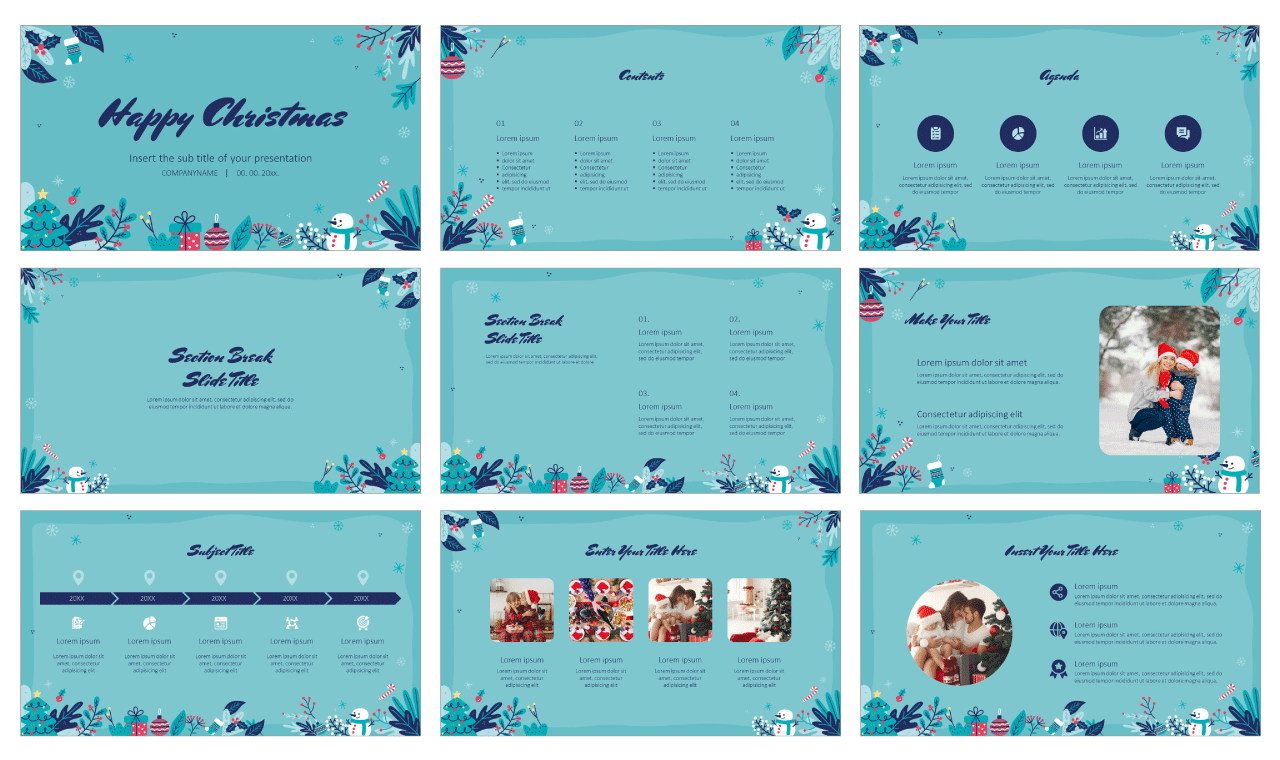Happy Christmas Free PowerPoint Template Google Slides Theme