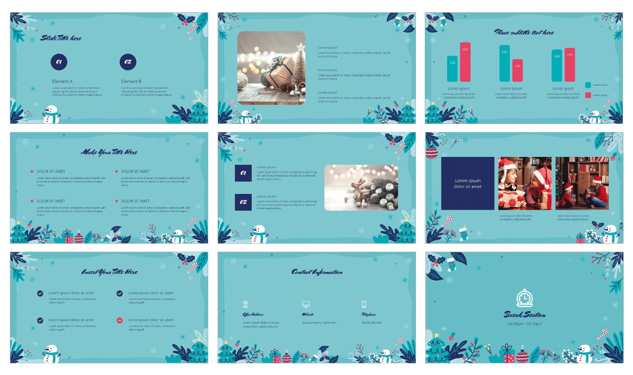 Happy Christmas PowerPoint Template Google Slides Theme Free download