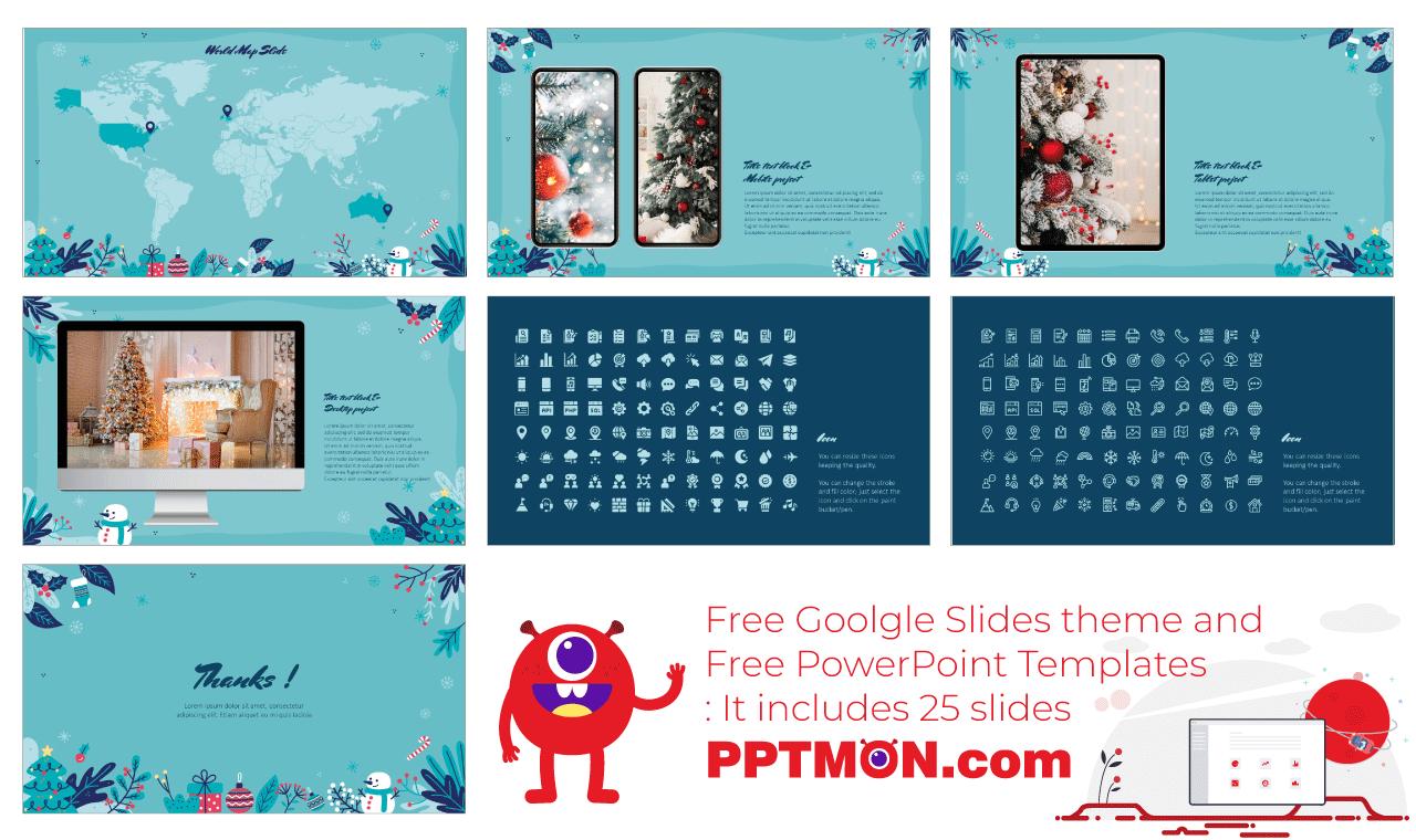 Happy Christmas Presentation Background design Free PowerPoint Template Google Slides Theme