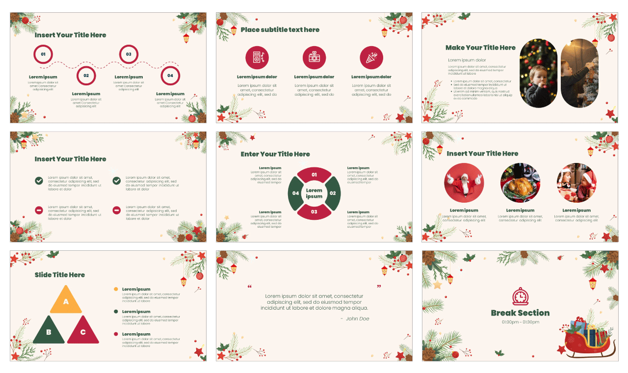 Merry Christmas google slides theme powerpoint template free download
