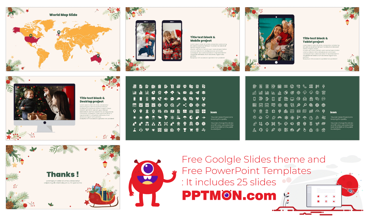Merry Christmas presentation background design google slides theme powerpoint template free download