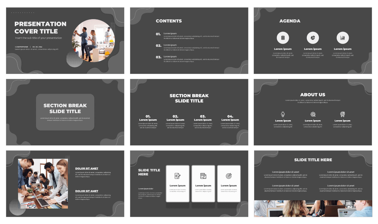 Modern Grayscale Wave Free PowerPoint Templates and Google Slides Themes