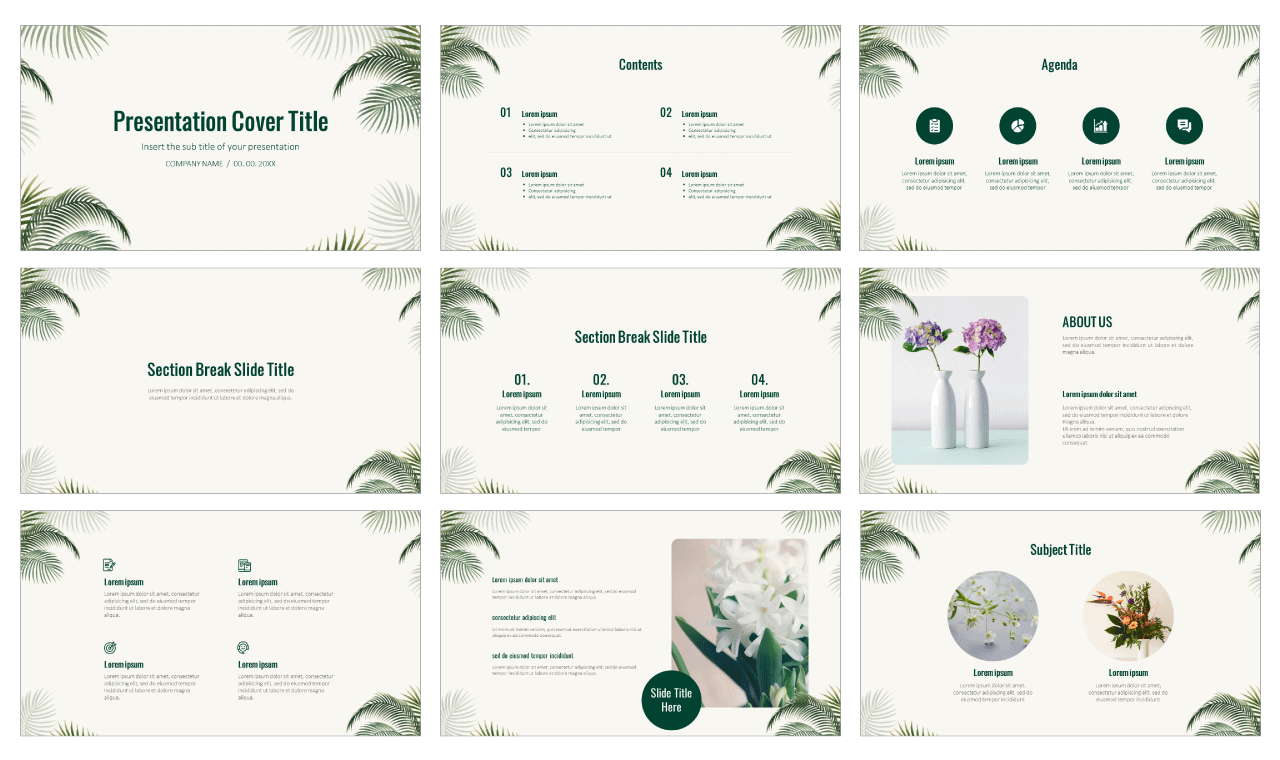 Nature Palm Leaves Free Google Slides theme PowerPoint template