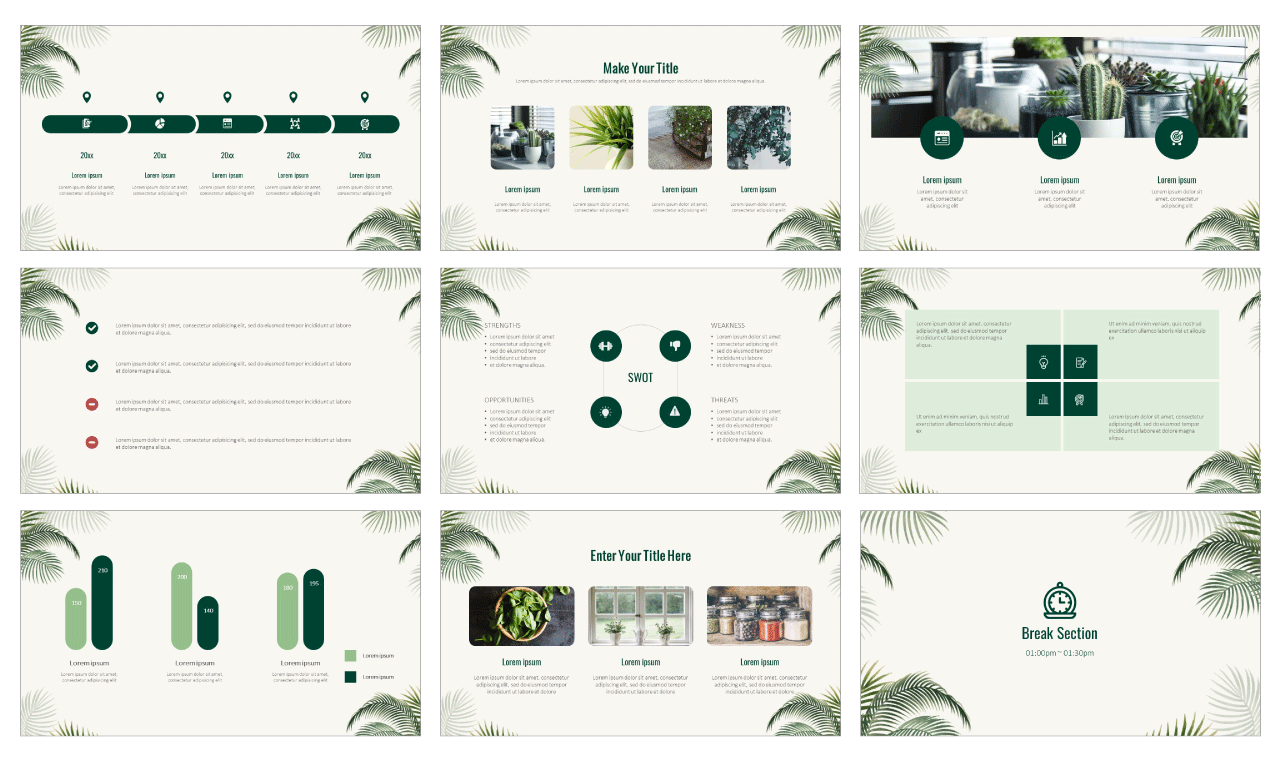 Nature Palm Leaves Google Slides theme PowerPoint template Free download