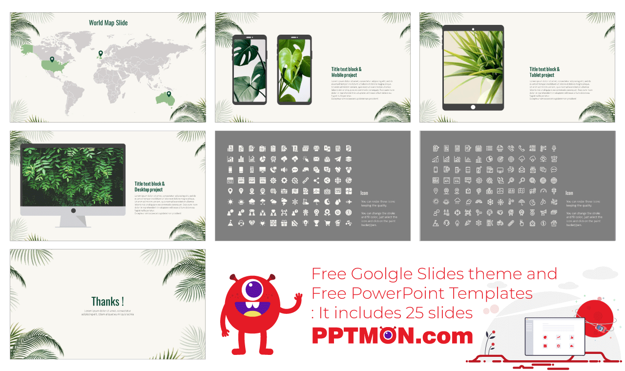 Nature Palm Leaves Presentation Background Design Google Slides theme PowerPoint template Free download