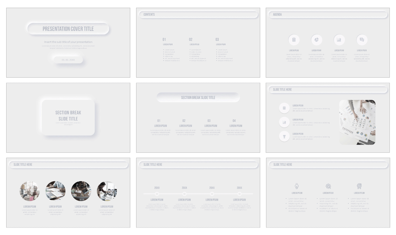 Neumorphism Design Free PowerPoint Templates and Google Slides Themes