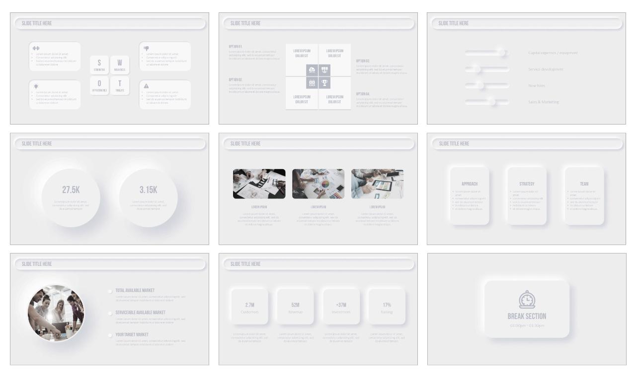 Neumorphism Design PowerPoint Templates Google Slides Themes Free download
