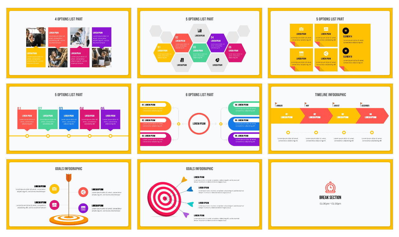 Process Infographic Diagram PowerPoint template Google Slides theme Free download