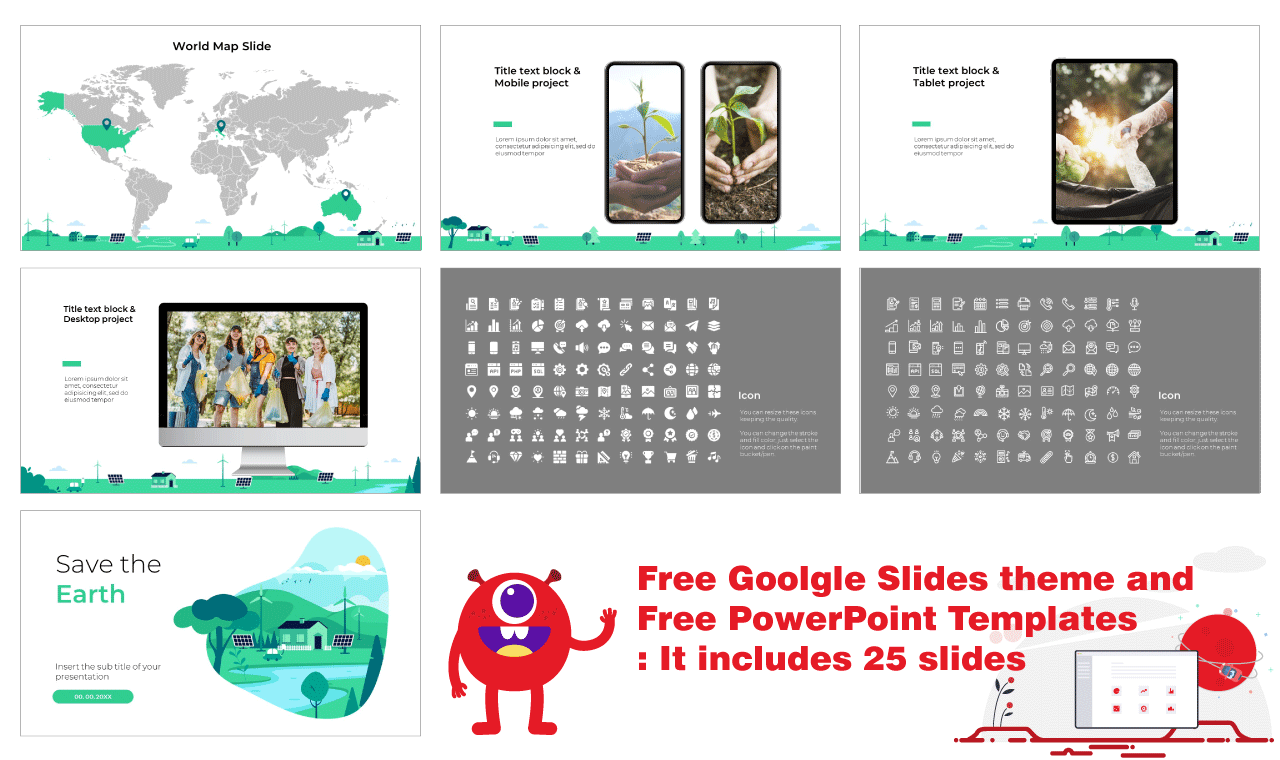 Save the earth Presentation Background design PowerPoint Templates Google Slides Themes Free download