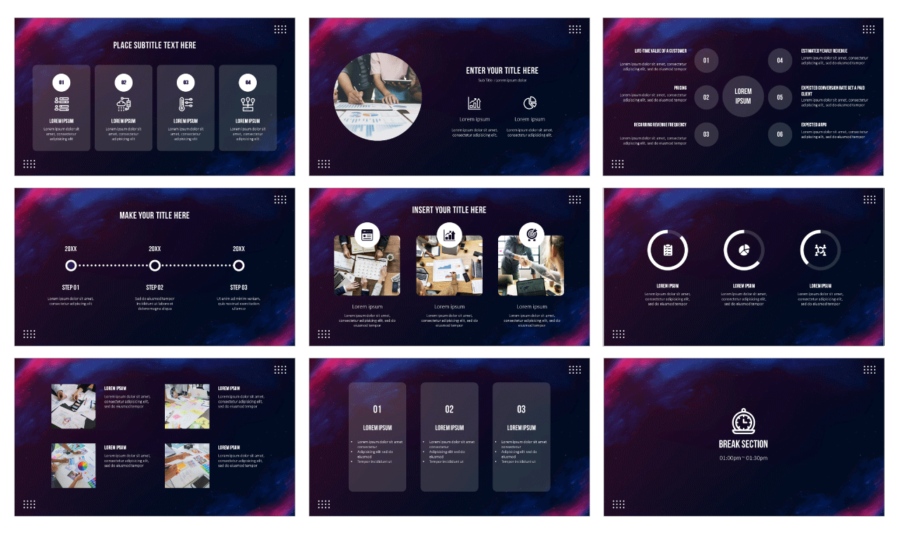 Starry night background Google Slides Theme PowerPoint Template Free Download