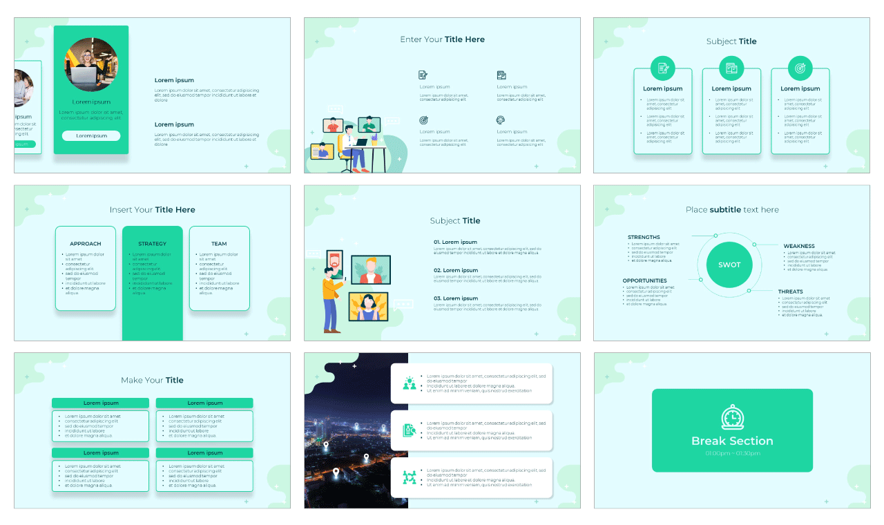 Web Conferencing Google Slides Theme PowerPoint Template Free download