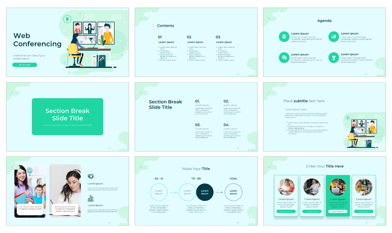 Web Conferencing Google Slides Theme PowerPoint Template