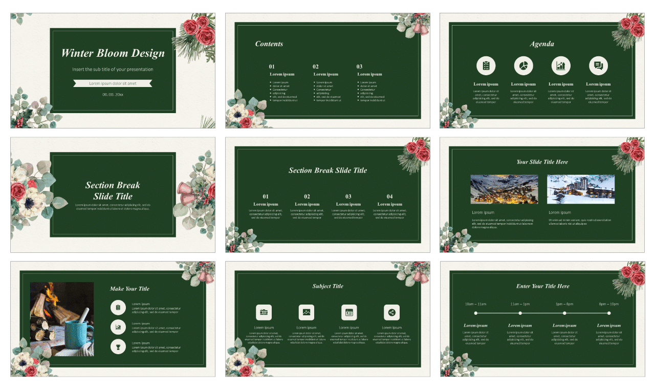 Winter Bloom Design Free Google Slides Theme PowerPoint Template
