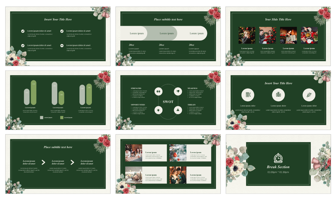Winter Bloom Design Google Slides Theme PowerPoint Template Free Download