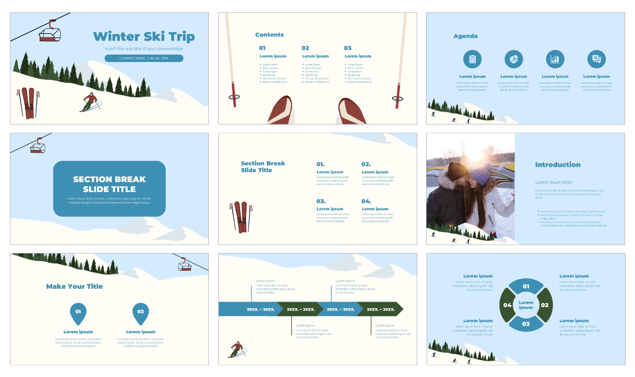 Winter Ski Trip Free Google Slides Theme and PowerPoint Template