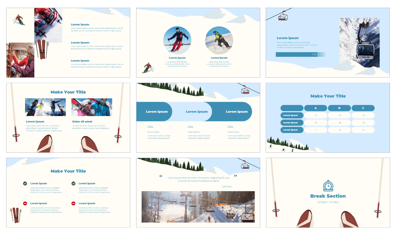 Winter Ski Trip Google Slides Theme PowerPoint Template Free Download
